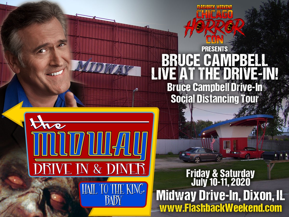BRUCE CAMPBELL LIVE AT THE MIDWAY DRIVE-IN HORROR COM